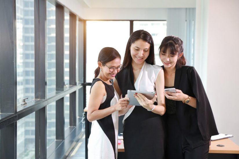 asian employees at an office space